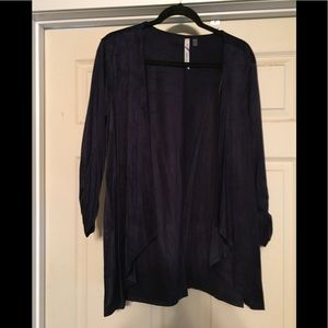 Faux Suede Draped Jacket, Navy
